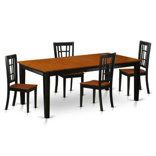 Pilger 5 Piece Solid Wood Dining Set by A..
