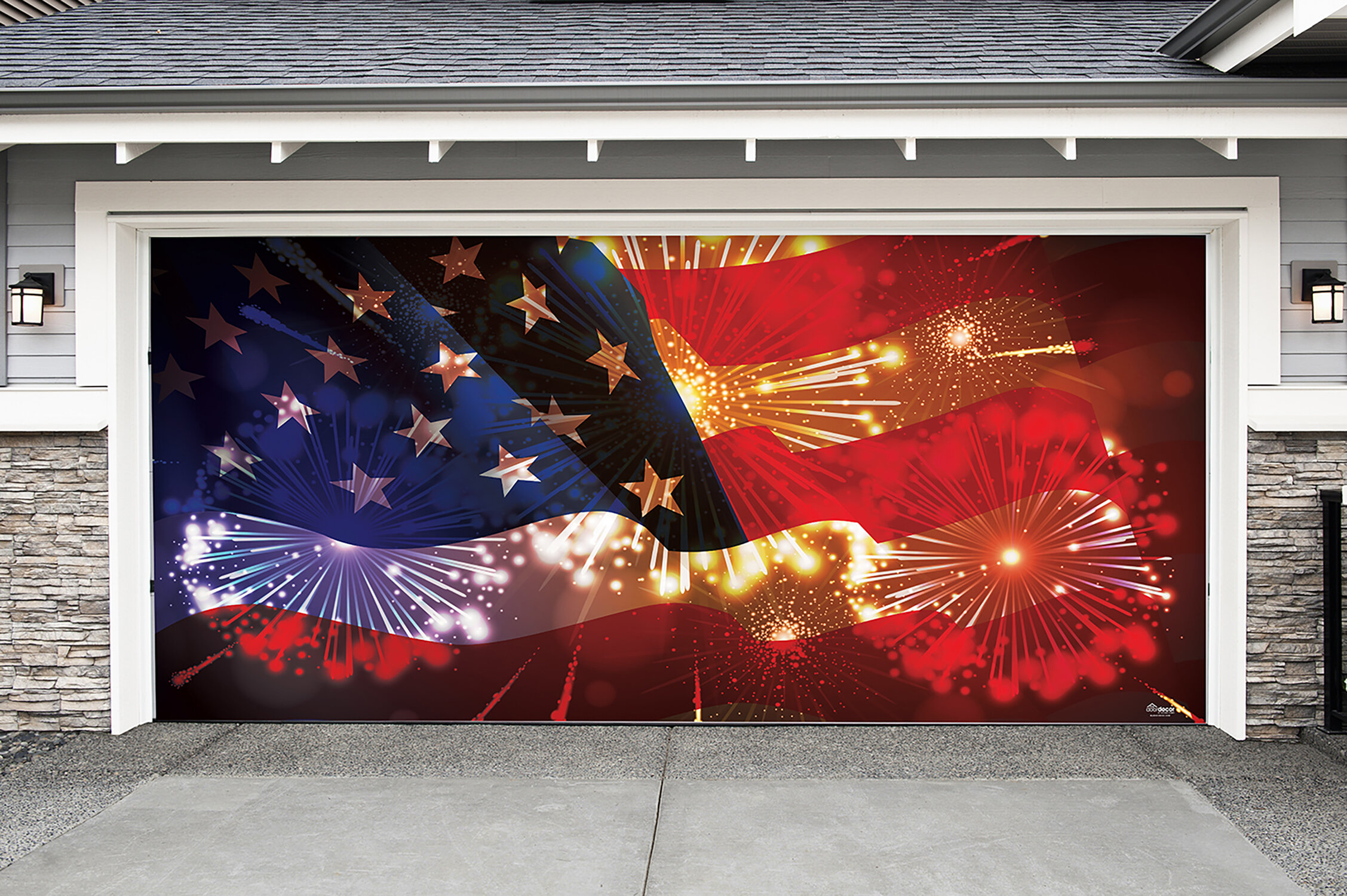 The Holiday Aisle American Flag and Fireworks Garage Door Mural ...