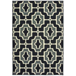 Koffler Geometric Tile Black/Gray Indoor/Outdoor Area Rug