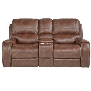 Millwood Pines Stampley Leather Air Nailhead Manual Reclining Loveseat with Storage Console