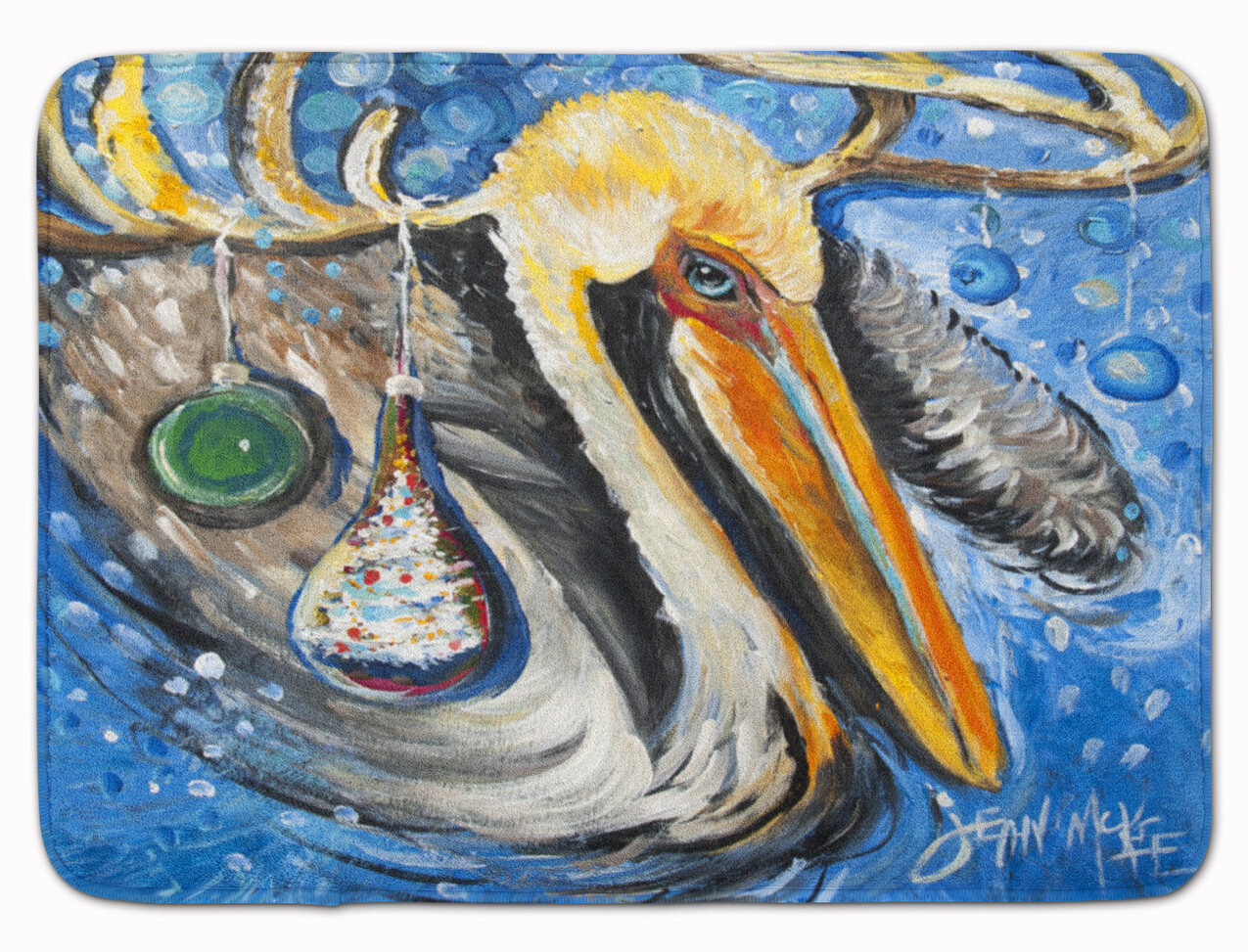 East Urban Home Pelican Dressed As A Reindeer Memory Foam Bath Rug