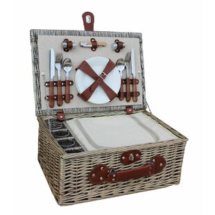 4 Person Chiller Picnic Basket With Glasses By Brambly Cottage