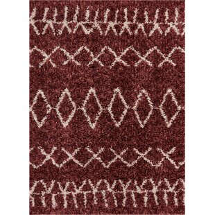 Read Reviews Olszewski Faux Fur Maroon/White Area Rug By Union Rustic