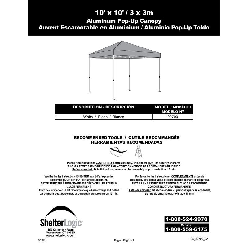 Shelterlogic Alumi Max 10 Ft W X 10 Ft D Aluminum Pop Up Canopy