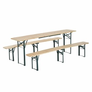Freeport Park Schaefer Outdoor Folding Wooden Picnic Table with benches