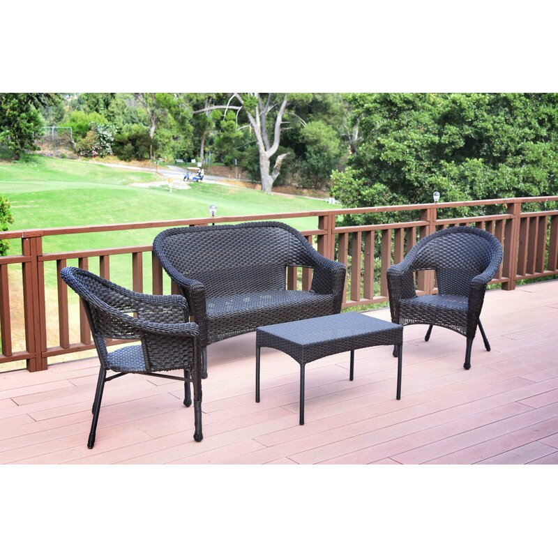 Kentwood Resin Wicker 4 Piece Rattan Sofa Seating Group Without Cushion