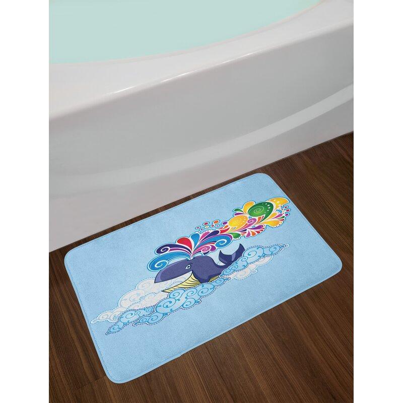 Cartoon Multi Colored Whale Bath Rug