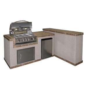 4-Burner Built In Gas Grill with Cabinet and Refrigerator