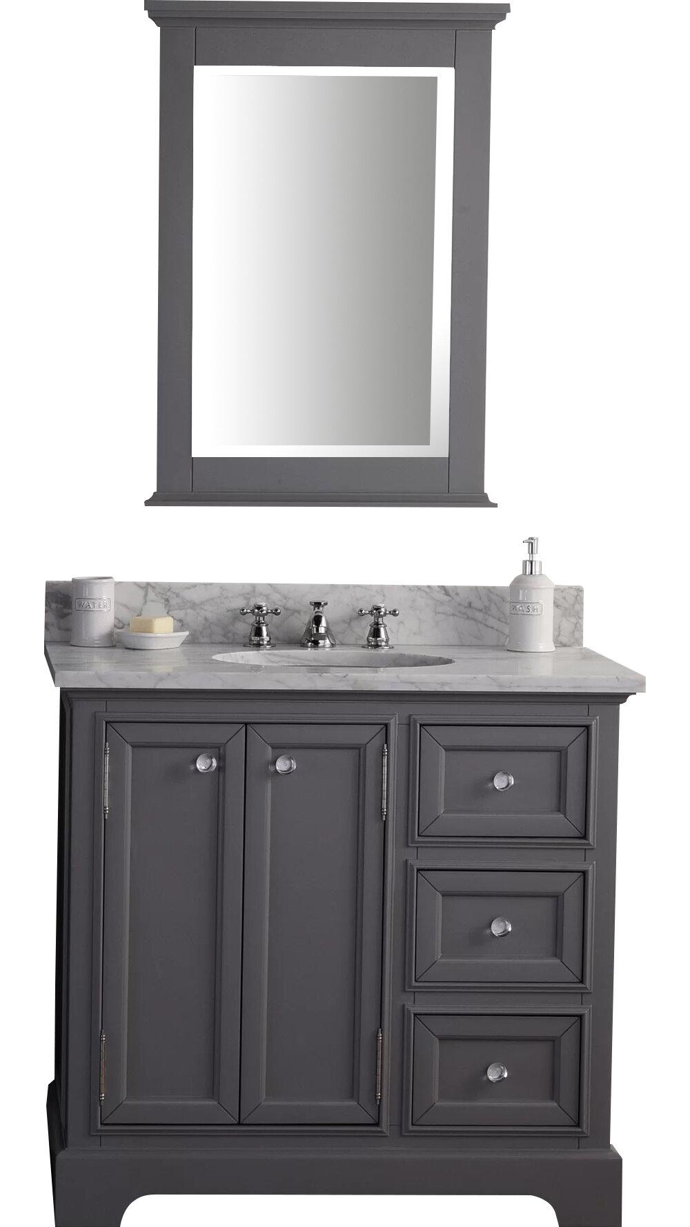 Three Posts Margene 36 Single Sink Bathroom Vanity Set With Mirror Reviews Wayfair