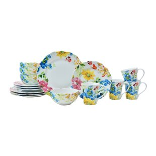 Annalise Spring Assorted 16 Piece Dinnerware Set Service for 4