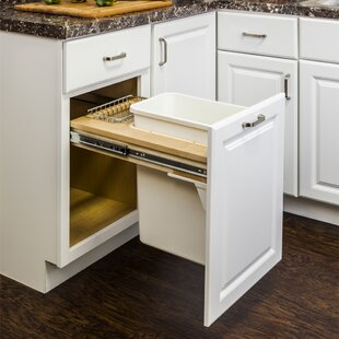 Solid Wood Open Pull Out/Under Counter Trash Can