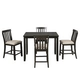 Bohner 5 - Piece Counter Height Rubberwood Solid Wood Dining Set by Red Barrel Studio®