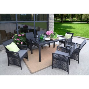 Bay Isle Home Colonial Backyard Steel Frame 7 Pieces Dining Set with Cushions