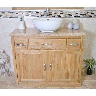 Ezekiel Solid Oak 1000mm Free-Standing Vanity Unit By Belfry Bathroom