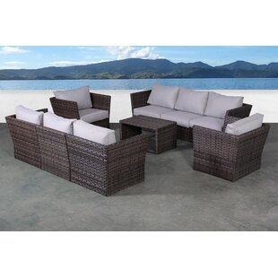 Highland Dunes Irie 9 Piece Rattan Sectional Seating Group with Cushions