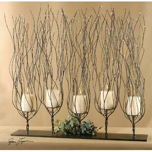Metal Candelabra in Dark Brown Wash
