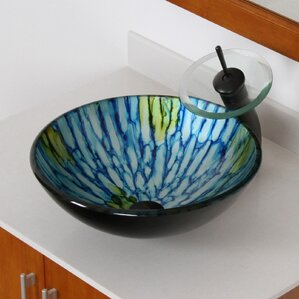 Double Layered Glass Bowl Circular Vessel Bathroom Sink Part 59