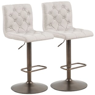 Angelo Adjustable Height Swivel Bar Stool (Set of 2) Alcott Hill