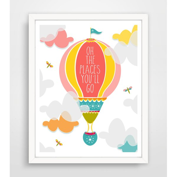 Oh The Places Youll Go Pink Hot Air Balloon Paper Print