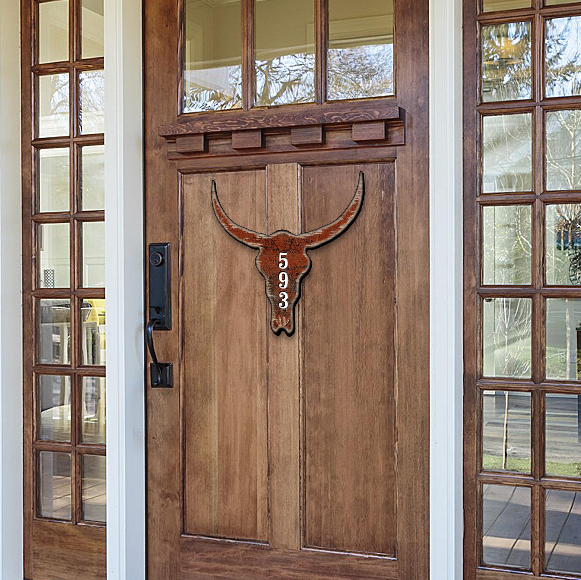 Designocracy Cow Bison Buffalo Skull House Door Wall Mailbox Address Number 1 Line Plaque Wayfair