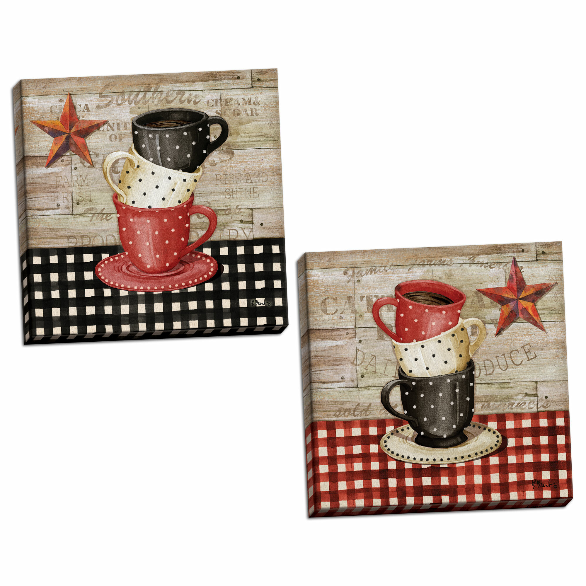 August Grove Farmhouse Kitchen Decor Stacked Coffee Cup Barnstar By Paul Brent 2 Piece Graphic Art Print Set Reviews Wayfair