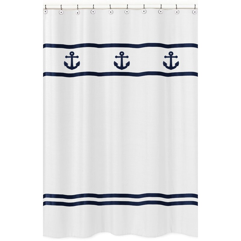 Exceptional Anchors Away Cotton Shower Curtain