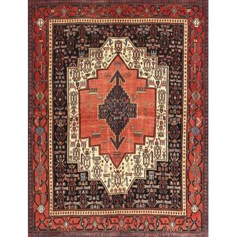 Ecarpetgallery One Of A Kind Hamadan Hand Knotted 4 4 X 6 6 Wool Red Beige Area Rug Wayfair