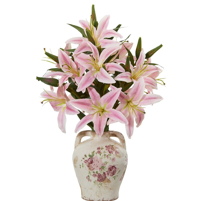 Ophelia Co Artificial Lily Floral Arrangements In Jar Wayfair