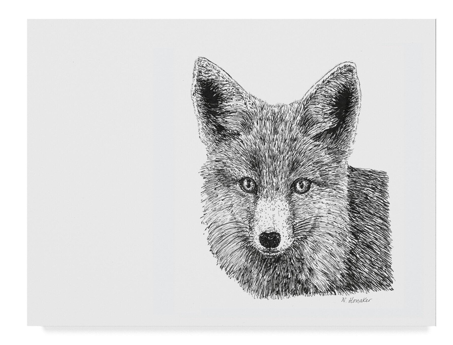 East Urban Home Fox Line Art Graphic Art Print On Wrapped Canvas Wayfair