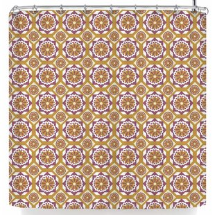 Neelam Kaur Gold Floral Octagons Single Shower Curtain