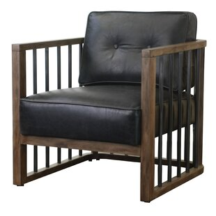 Shelton WoodFramed Leather and Metal Armchair