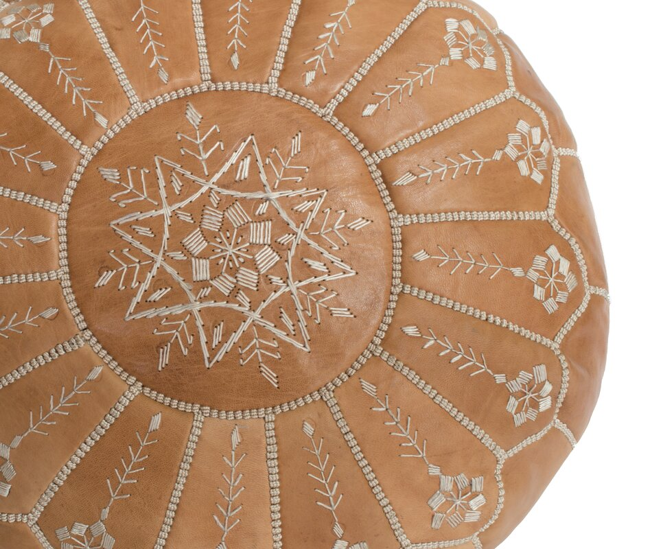 Moroccan Embroidered Leather Ottoman. Shop the Room! Sarah Richardson {Belvedere Rooftop Gallery} #moroccanpouf #SarahRichardson #bohostyle
