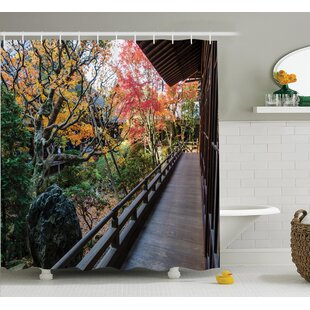 Bray Japanese Forest Landscape From a Wooden Balcony Single Shower Curtain
