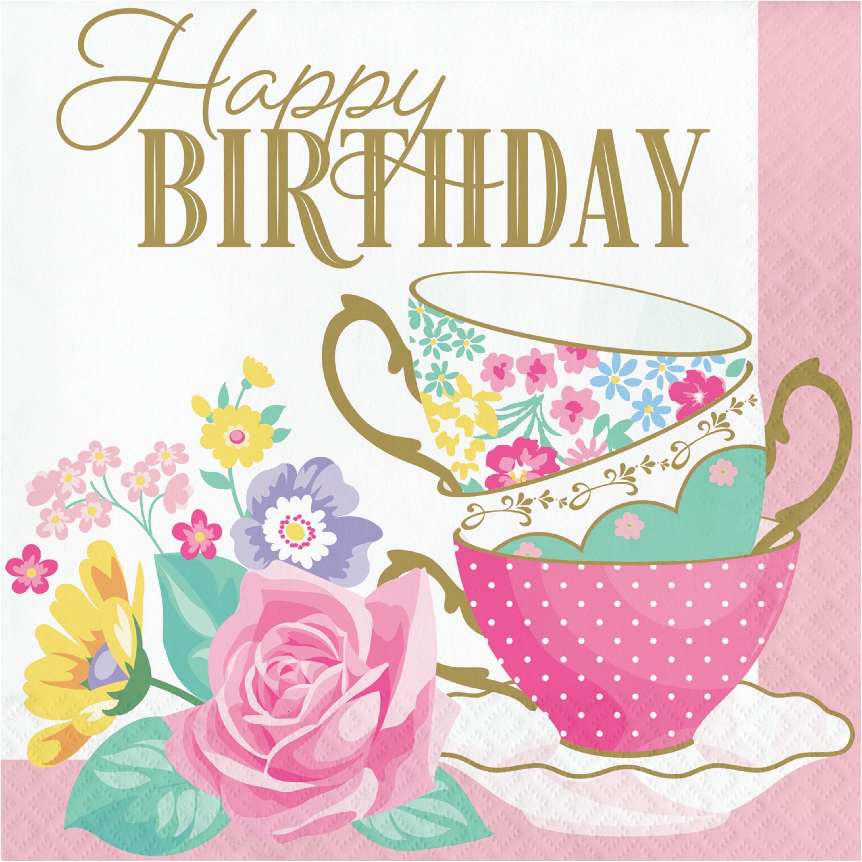Creative Converting Floral Tea Party Happy Birthday Basic Paper Disposable Napkin Wayfair Ca