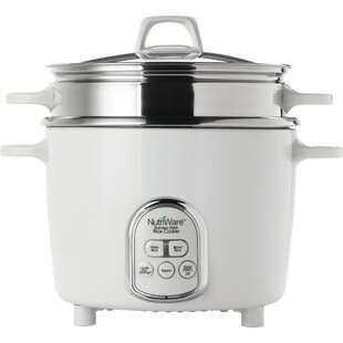 NutriWare Pot Style Digital Rice Cooker with Exposed Steam Tray