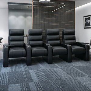 Manual Group Rocker Recline Home Theater Row Seating (Row of 4) by Freeport Park