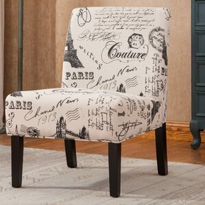Goodale Script Linen Fabric Oversize Slipper Chair by Roundhill Furniture