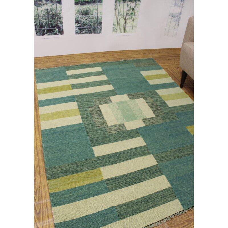 Latitude Run Ames Striped Handmade Kilim Wool Ivory Area Rug Wayfair