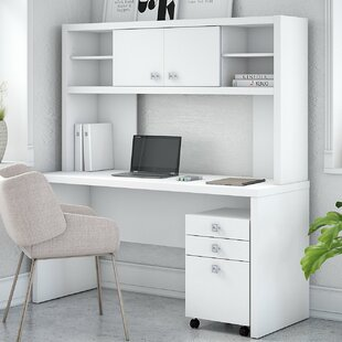 Echo Credenza 2 Piece Desk Office Suite with Hutch and Mobile File Cabinet by Kathy Ireland Office by Bush