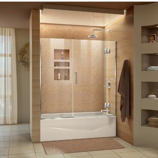 Compare prices Unidoor-X 58 1/2 in. W x 58 in. H Frameless Hinged Tub Door By DreamLine