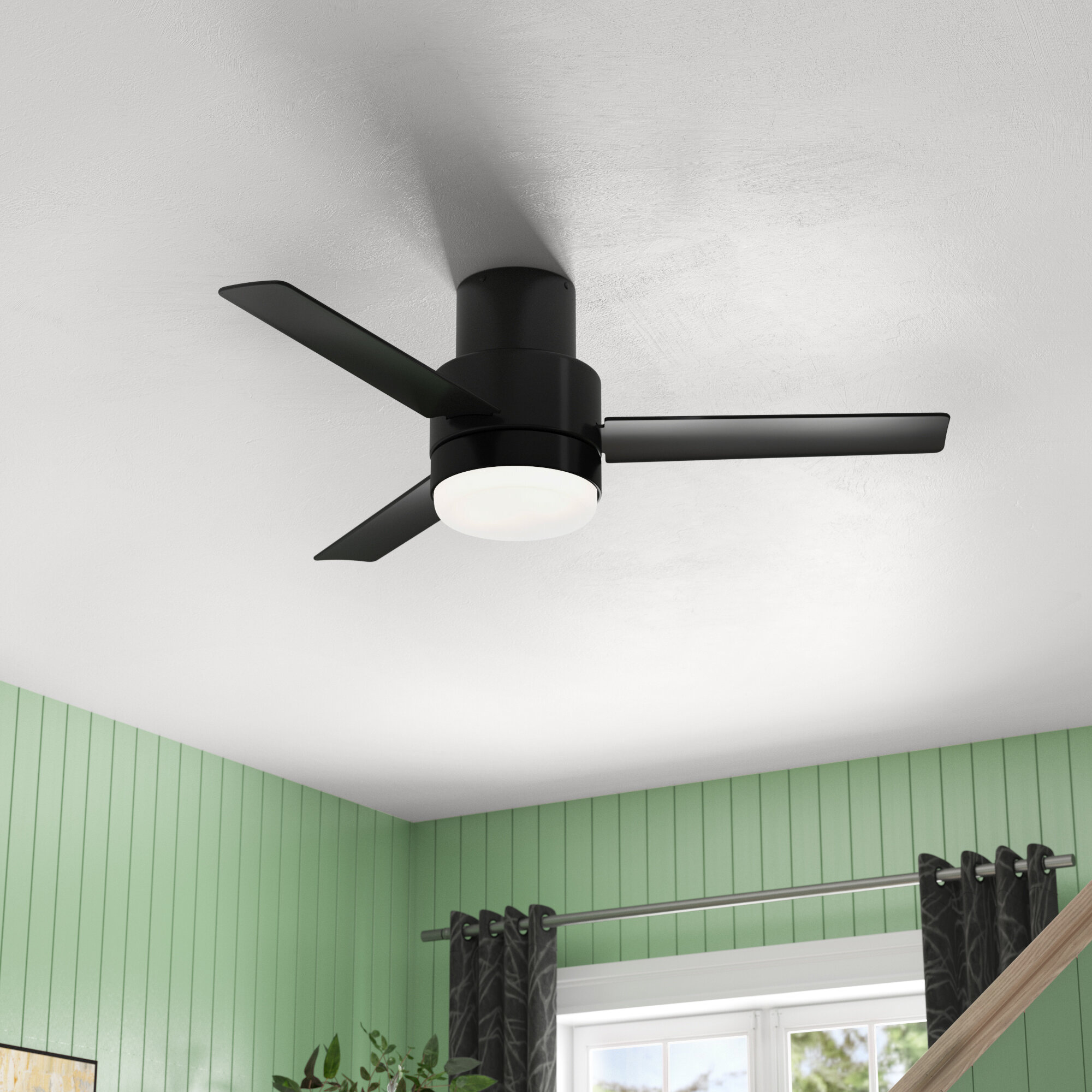 Hunter Fan 44 Gilmour 3 Blade Flush Mount Ceiling Fan With Remote Control And Light Kit Included Reviews Wayfair