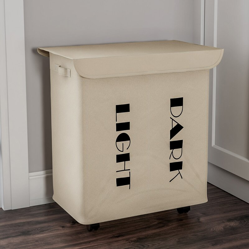 Double Laundry Hamper With Lid And Wheels