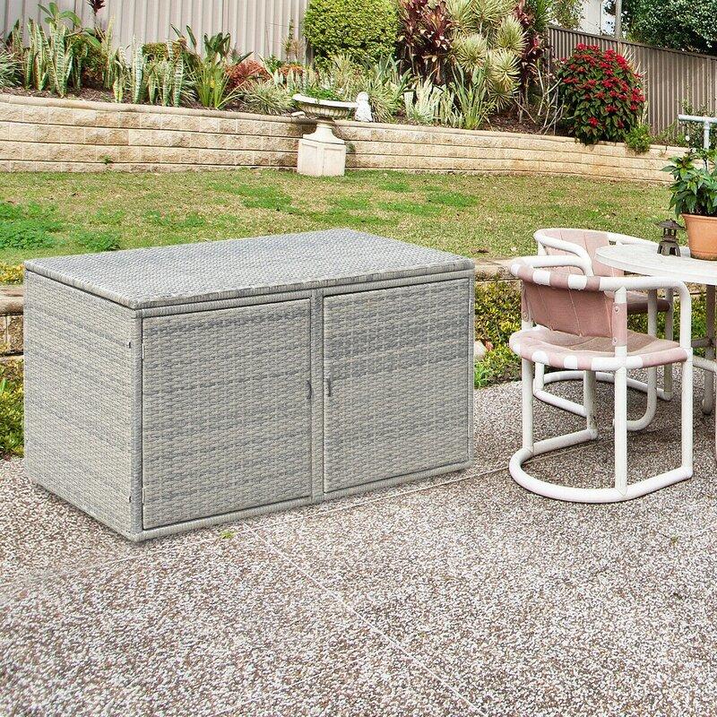 Arsuite Garden Patio 88 Gallon Metal/Rattan Deck Box