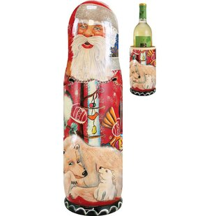 Katie Santa Polar Bears 1 Bottle Tabletop Wine Rack