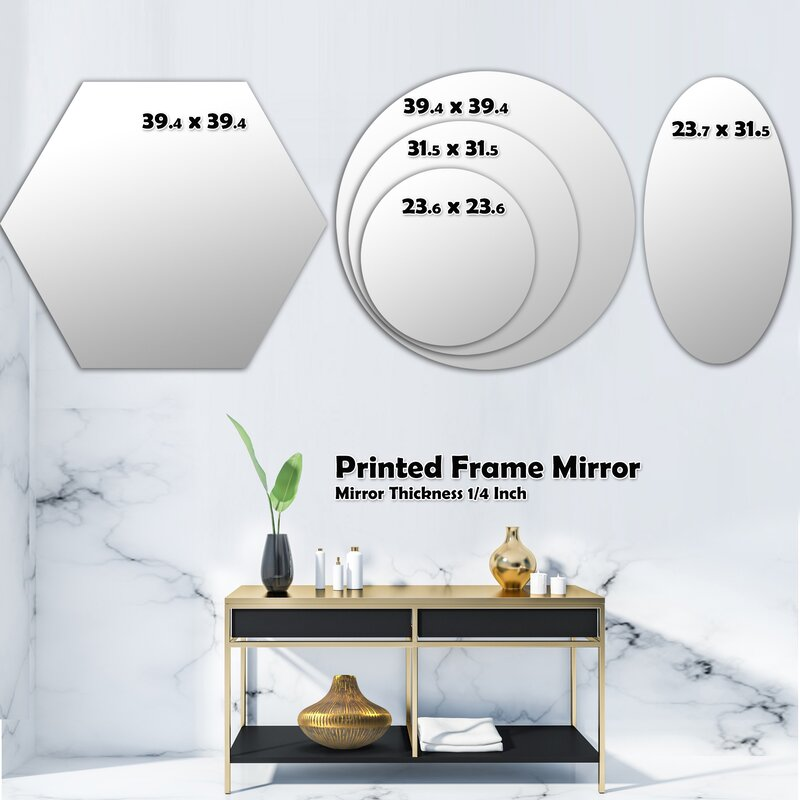 East Urban Home Abstract Geometrical Design Ix Wave Modern Frameless Wall Mirror Wayfair
