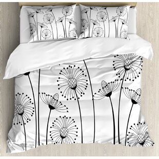 East Urban Home Decorations Meadow Flowers Stylized Abstract Dandelions Countryside Art Duvet Set
