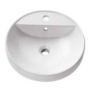 Avanity Ceramic Circular Vessel Bathroom Sink with Overflow
