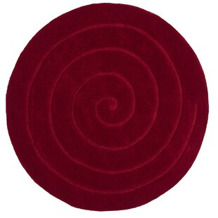 Stotts Spiral Hand-Tufted Red Area Rug by Red Barrel Studio