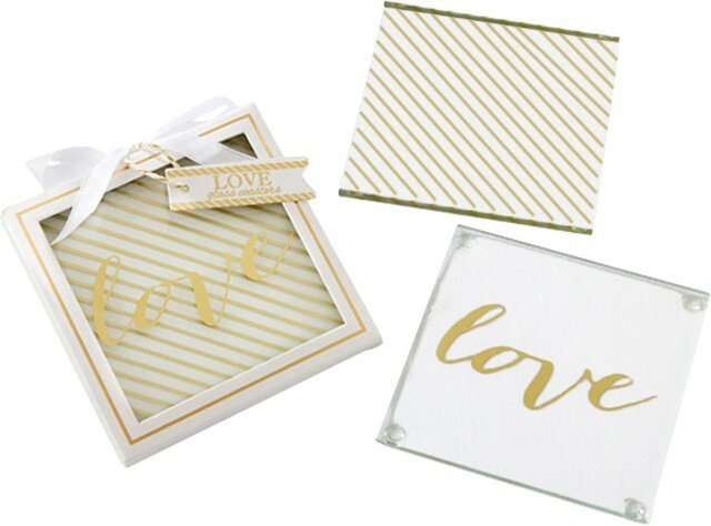Gold Love Glass Coaster