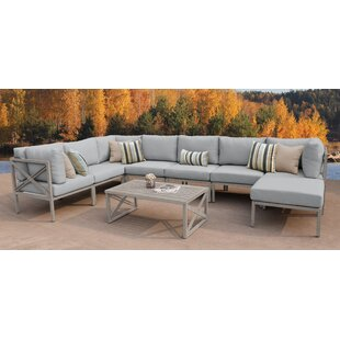 TK Classics Carlisle 9 Piece Outdoor Sectional Set with Cushions